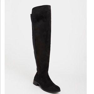 Torrid black Neoprene over the knee boot size 8